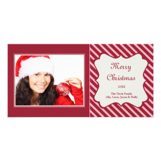 Red candy cane stripe Christmas holiday greeting Picture Card