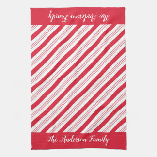 Red Candy Cane Stripes Christmas Kitchen Towel