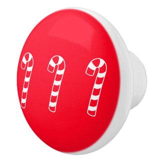 Red Candy Cane Trio 4Cleo Ceramic Knob
