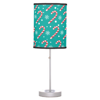 Red candy canes and snowflakes - Christmas gifts Desk Lamp