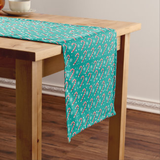 Red candy canes and snowflakes - Christmas gifts Short Table Runner