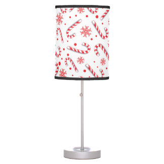 Red candy canes snowflakes - Christmas gifts Table Lamp