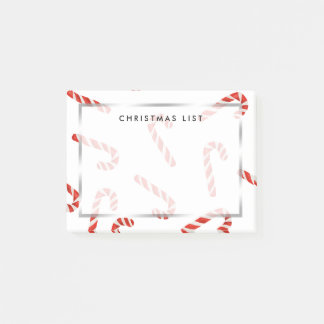 Red Candy Canes Watercolor Holiday Pattern Post-it Notes