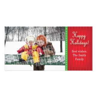 Red candy stripe custom photo card