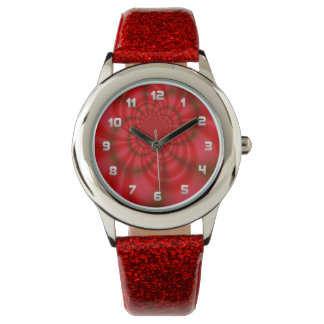 Red Candy Stripes Fractal Watch