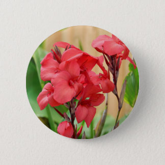 Red canna flowers 2 inch round button