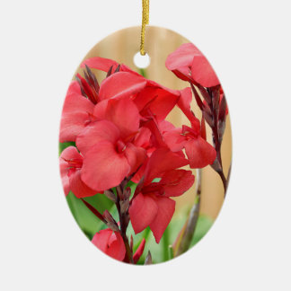 Red canna flowers ceramic ornament