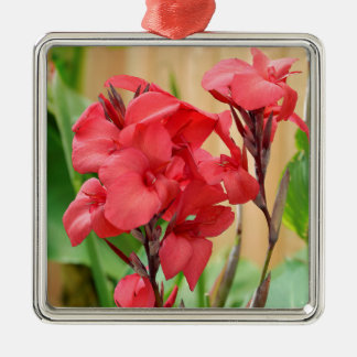 Red canna flowers metal ornament