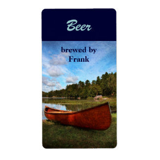 Red canoe beer label shipping label