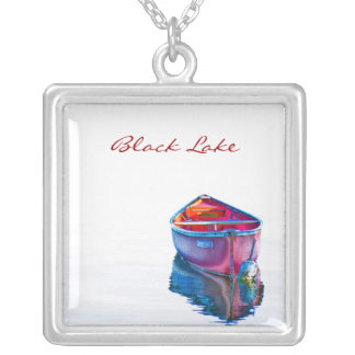 Red Canoe Custom Title Square Necklace