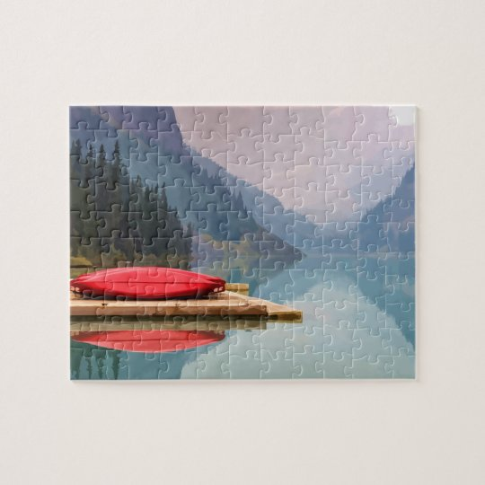 Red Canoe on Tranquil Mountain Lake Wilderness art Jigsaw Puzzle