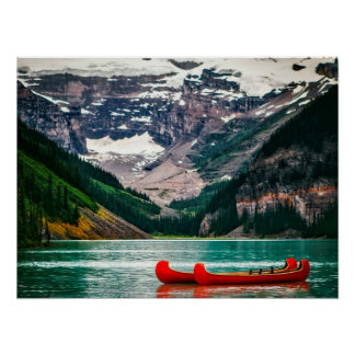 Red Canoes Floating in the Ocean by the Mountains Poster