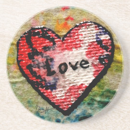 Red Canvas Heart with Love Coaster