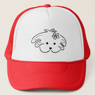 "Red cap, small dog, girl, ""the world of Lua "" Trucker Hat"