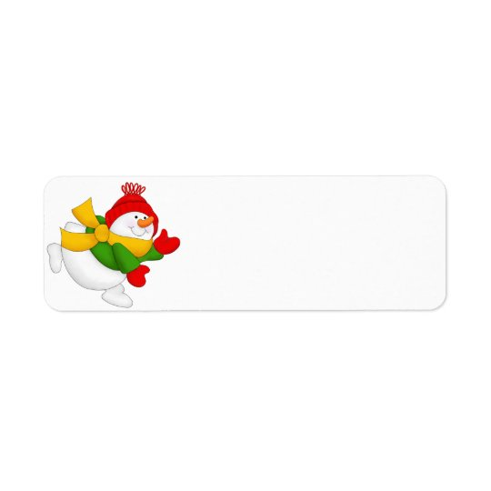 Red Cap Snowman Return Address Label