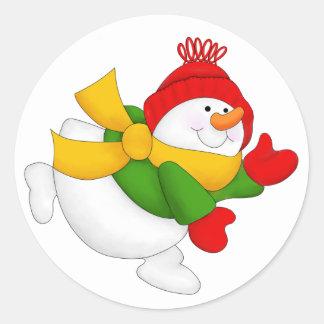 Red Cap Snowman Round Stickers