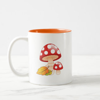 Red Cap Toadstool Mushrooms and Leaves Two-Tone Coffee Mug