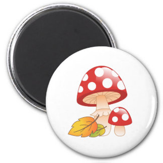 Red Cap Toadstool Mushrooms with Leaves Magnet