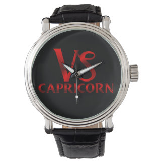 Red Capricorn Symbol Wrist Watches