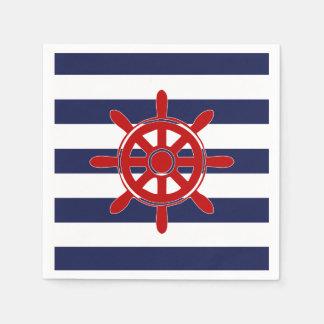 Red Captain's Wheel & Navy Horizontal Stripes Disposable Napkins