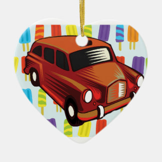 red car and Popsicle's Ceramic Heart Ornament