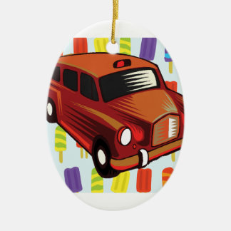 red car and Popsicle's Ceramic Oval Ornament