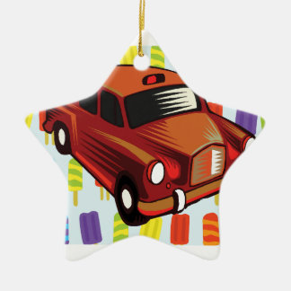 red car and Popsicle's Ceramic Star Ornament