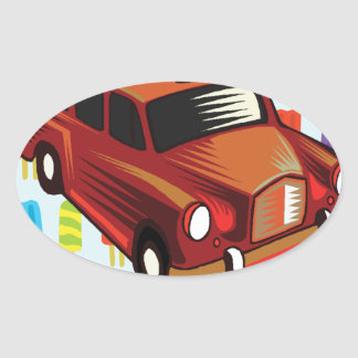 red car and Popsicle's Oval Sticker