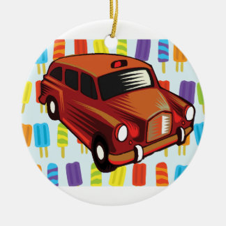 red car and Popsicle's Round Ceramic Ornament