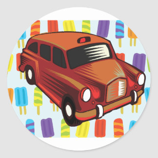 red car and Popsicle's Round Sticker