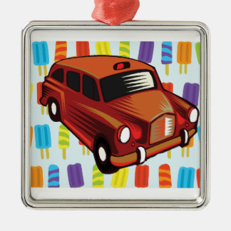 red car and Popsicle's Silver-Colored Square Ornament