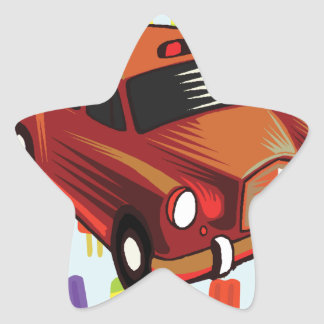 red car and Popsicle's Star Sticker