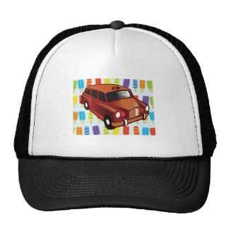 red car and Popsicle's Trucker Hat