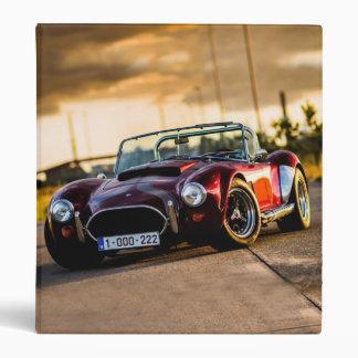 Red car.Classic car 3 Ring Binders