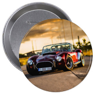 Red car.Classic car 4 Inch Round Button