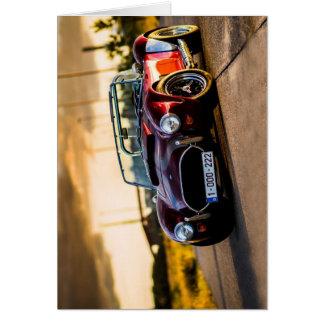 Red car.Classic car Card
