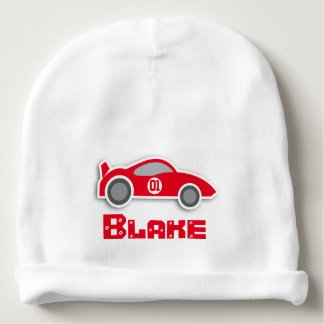 Red car custom name number baby beanie
