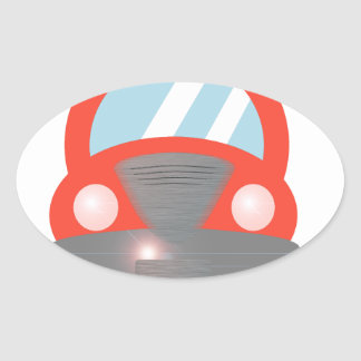 Red Car Oval Sticker