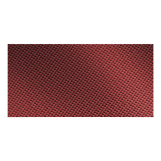 Red Carbon Fiber Patterned Personalized Photo Card