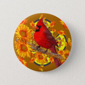 red cardinal bird 2 inch round button