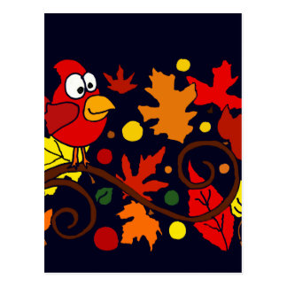 Red Cardinal Bird and Autumn Leaves Abstract Art Postcard