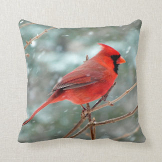 Red Cardinal Bird Home Decor Accent Throw Pillow