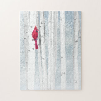 Red Cardinal Bird in beautiful snowy Birch Tree Jigsaw Puzzle