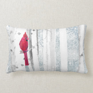 Red Cardinal Bird in beautiful snowy Birch Tree Lumbar Pillow