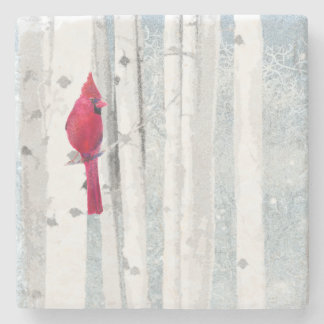 Red Cardinal Bird in beautiful snowy Birch Tree Stone Coaster