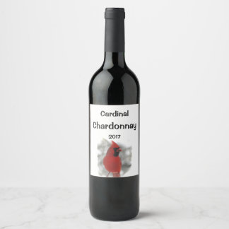 Red Cardinal Bird in White Snow Wine Label