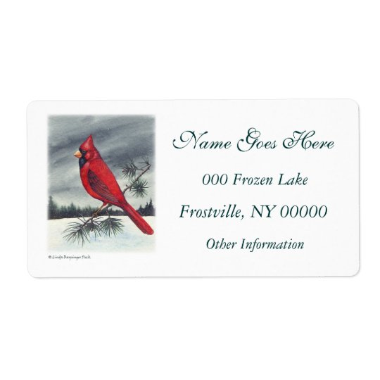 Red Cardinal Bird Left Shipping Label