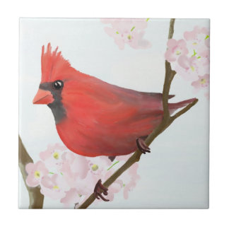 Red Cardinal Bird (Male) Sitting on Cherry Blossom Tile