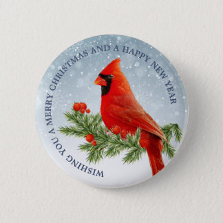 Red Cardinal Bird Merry Christmas button