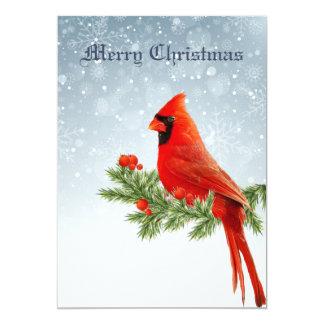 Red Cardinal Bird Merry Christmas greeting Card